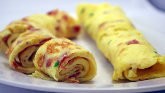 Rolled German Omelette With Bacon And Chives