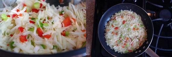 Chopped Vegetables And Shredded Potatoes For Hash Browns