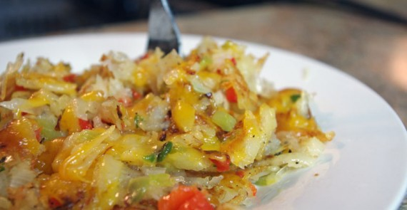 Hash Browns With Cheese, Onion And Peppers