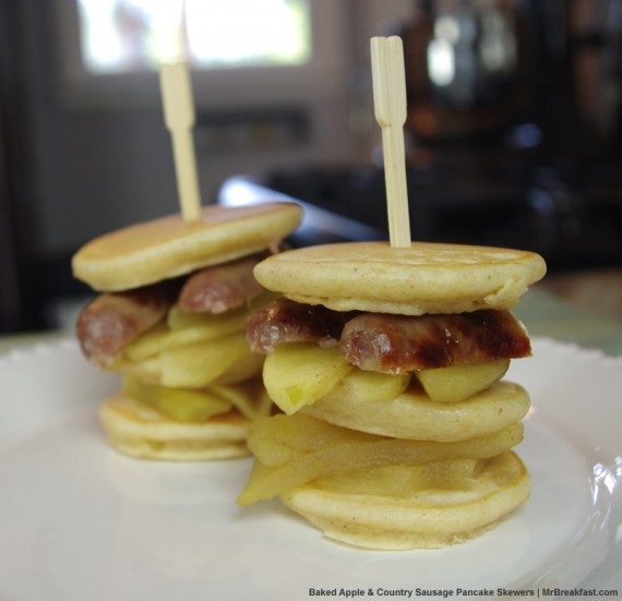 Baked Apple & Country Sausage Pancake Skewers