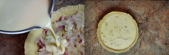 Pour The Custard Over The Ham And Onions