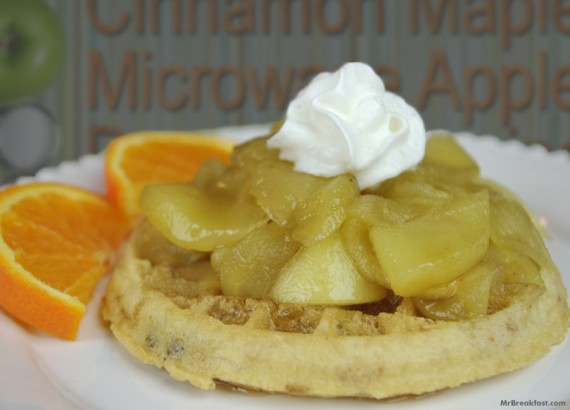 Waffle With Microwave Apple Topping