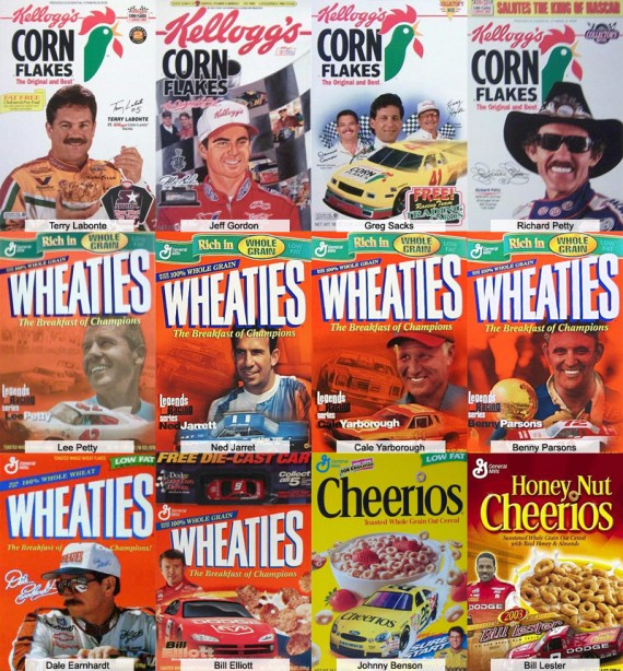 Race Car Drivers On Cereal Boxes