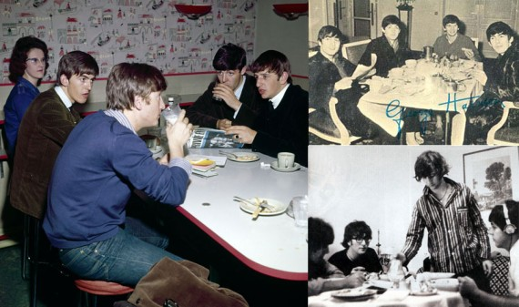 The Beatles Eating Breakfast