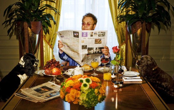 Elton John Having Breakfast