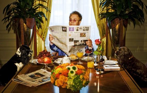 Elton John Having Breakfast