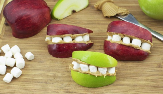 Making Marshmallow Apple Teeth
