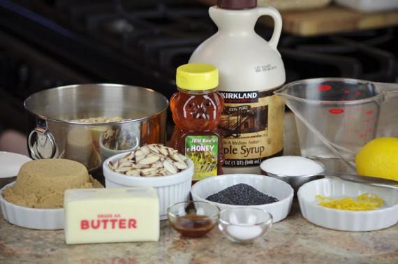 Lemon Poppy Seed Granola Ingredients