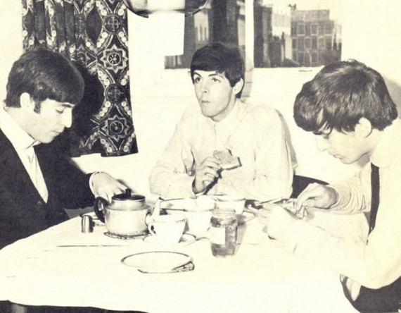 Three Beatles Eat Breakfast