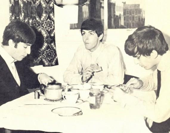 Three Beatles Eat Breakfast