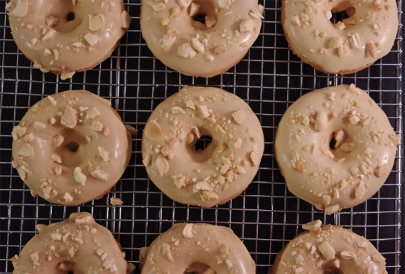 Banana Donuts w/ Peanut Butter Icing