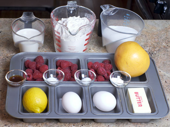 Ingredients For Raspberry Grapefruit Mini Breads