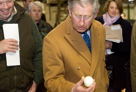 Prince Charles Examines An Egg