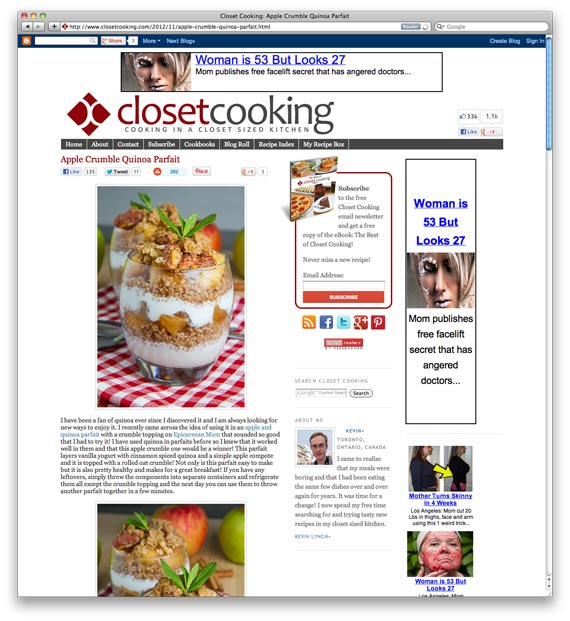 Apple Crumble Quinoa Parfait at Closet Cooking