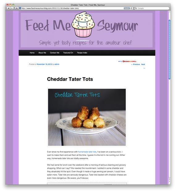 Cheddar Tater Tots at Feed Me Seymour