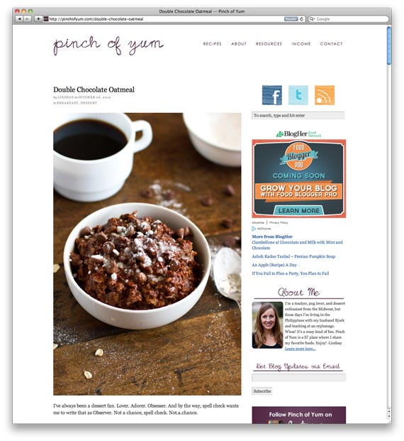 Double Chocolate Oatmeal at Pinch of Yum