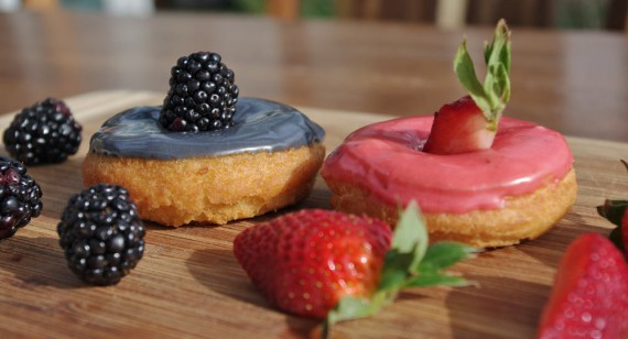 Homemade Blackberry And Strawberry Cake Donuts