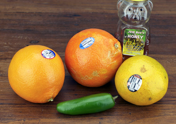 Ingredients For Oranges With Honey And Jalapeno