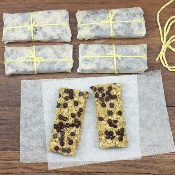 Wrapping No-Bake Chocolate Chip Breakfast Bars