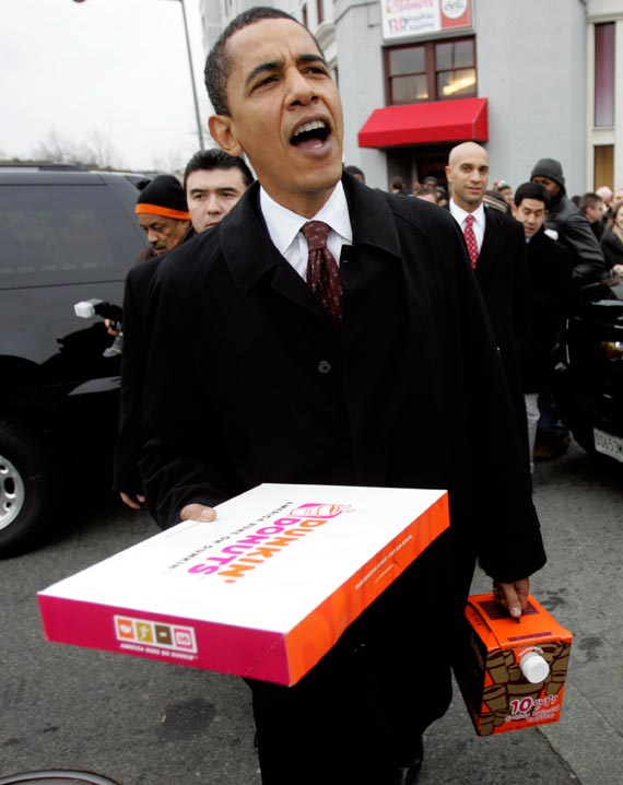Barack Obama with a box of Dunkin' Donuts