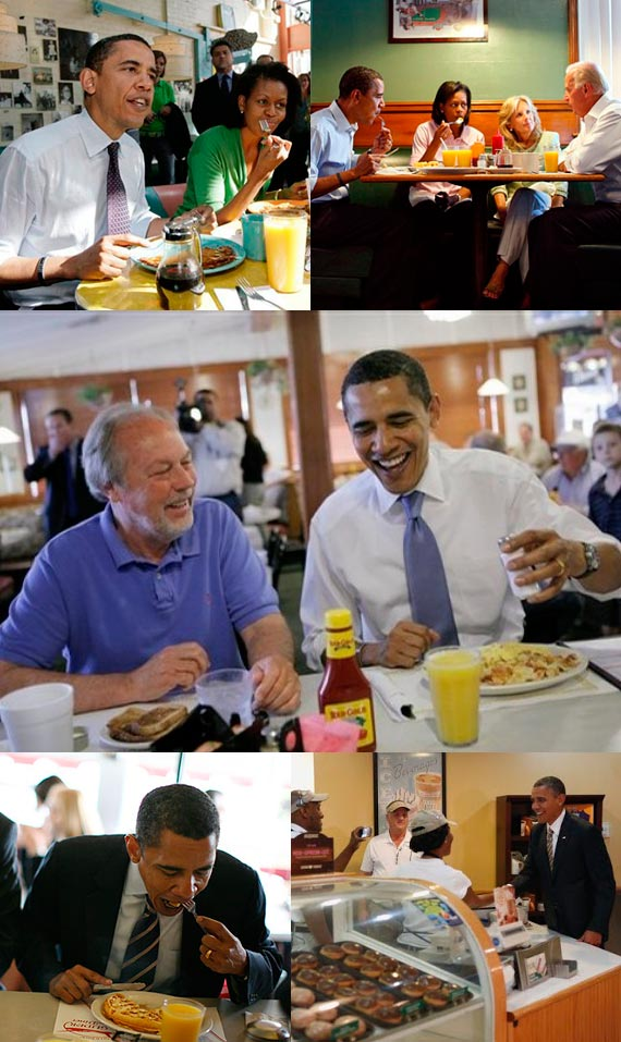Montage of President Barack Obama enjoying breakfast