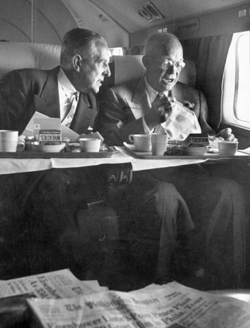 Dwight D. Eisenhower having breakfast
