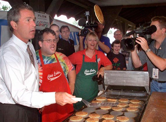 George W. Bush flipping pancakes