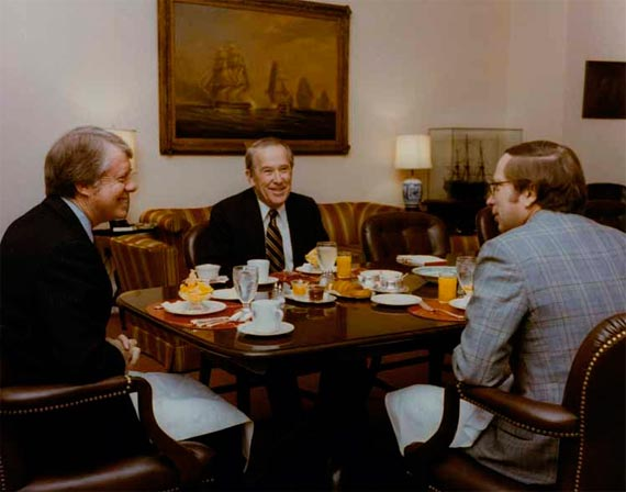President Jimmy Carter having breakfast