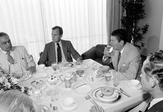 Ronald Reagan having breakfast
