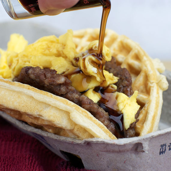 Homemade Waffle Taco With Maple Syrup