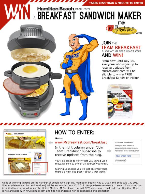 Win A Breakfast Sandwich Maker