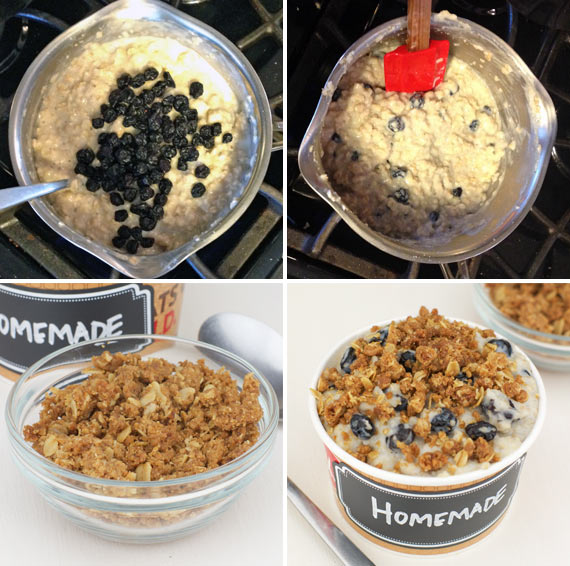 Making Blueberry Muffin Oatmeal