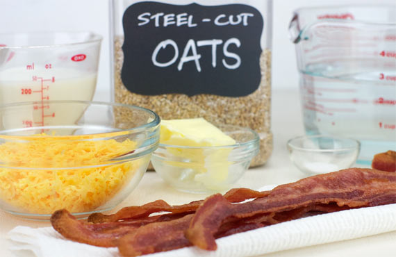Ingredients For Bacon Cheddar Oatmeal