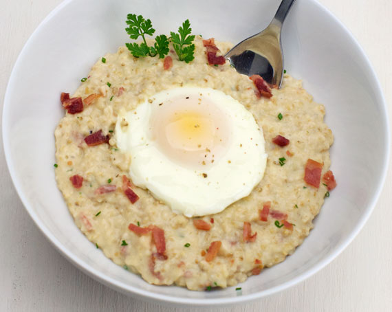 Bacon Cheddar Steel-Cut Oatmeal With Fried Egg