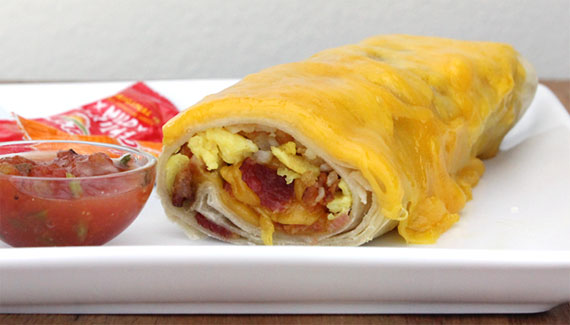 Bacon Potato Cheddar Breakfast Burrito