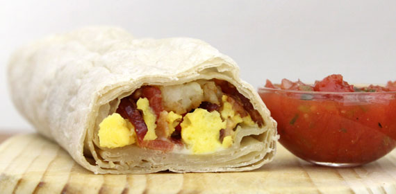 Bacon Potato Pepper Jack Breakfast Burrito