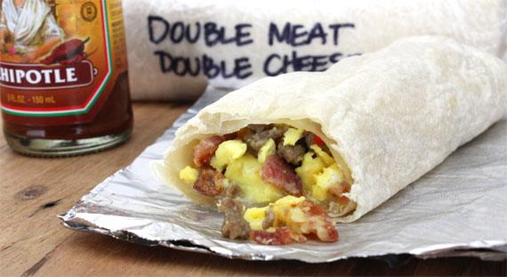 Double Meat & Double Cheese Breakfast Burrito