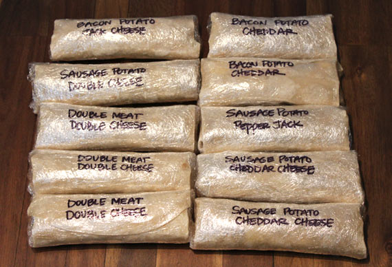 Various Homemade Frozen Breakfast Burritos