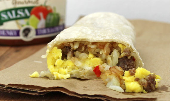 Sausage Potato Pepper Jack Breakfast Burrito