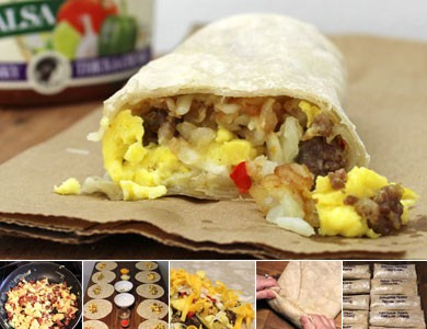 Homemade Frozen Breakfast Burrito Assembly Line