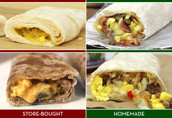 Store-Bought Frozen Breakfast Burritos Versus Homemade Frozen Breakfast Burritos