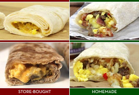 Store-Bought Frozen Breakfast Burritos Versus Homemade Frozen Breakfast Burritos