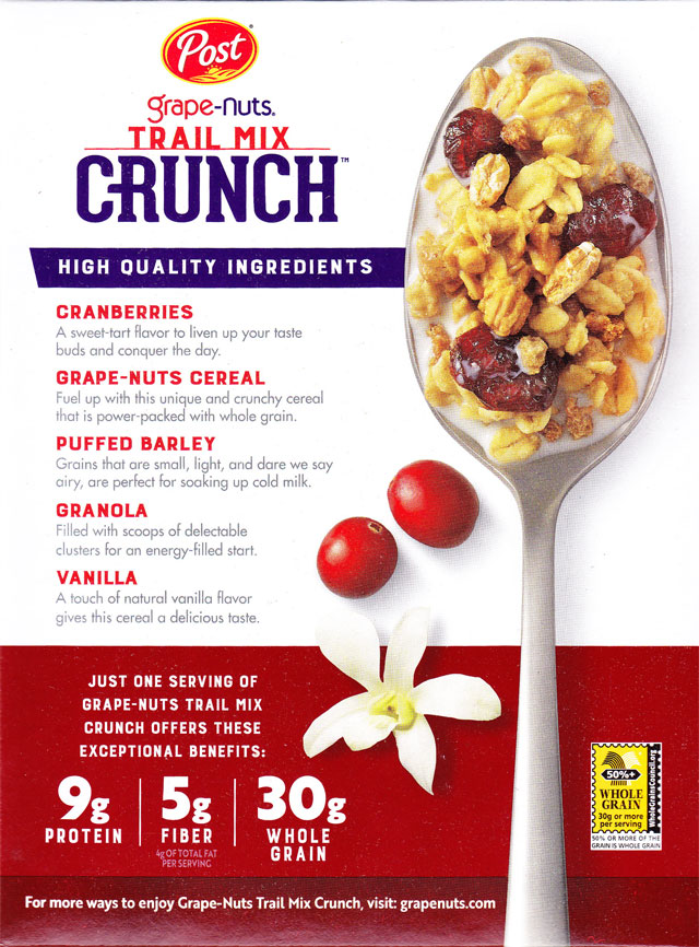 2018 Cranberry Vanilla Grape-Nuts Trail Mix Crunch Cereal Box - Back