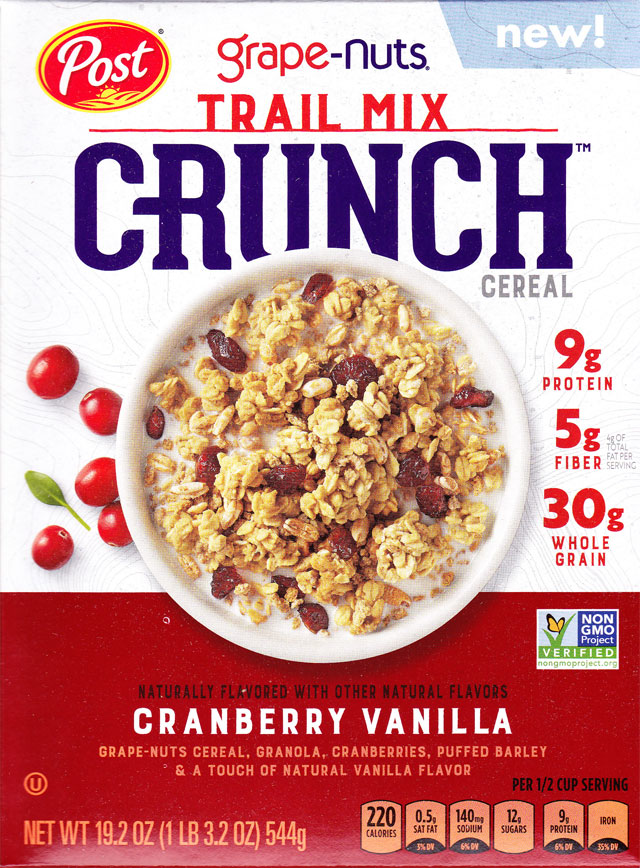 2018 Cranberry Vanilla Grape-Nuts Trail Mix Crunch Cereal Box - Front