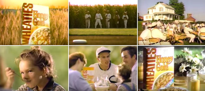 Wheaties Honey Gold Baseball Commercial Screen Grabs