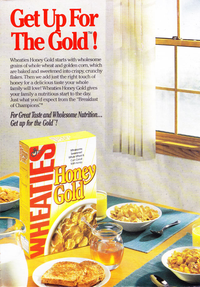 Wheaties Honey Gold Cereal Box (Back)