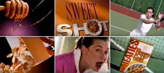 Wheaties Honey Gold Tennis Commercial Screen Grabs