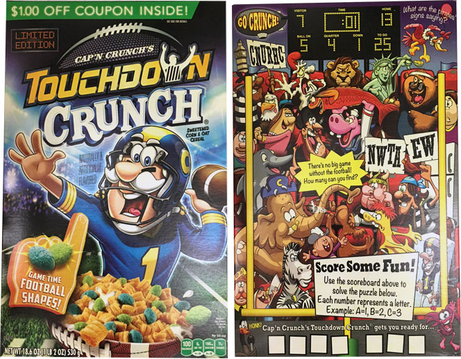 Cap'n Crunch's Touchdown Crunch Cereal Box From 2017