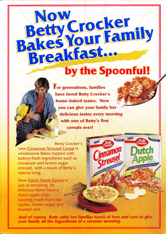 Betty Crocker Cinnamon Streusel Cereal Box (Back)