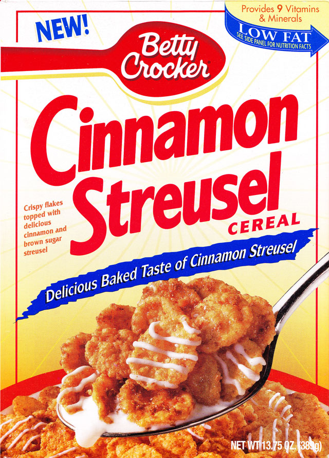 Betty Crocker Cinnamon Streusel Cereal Box (Front)